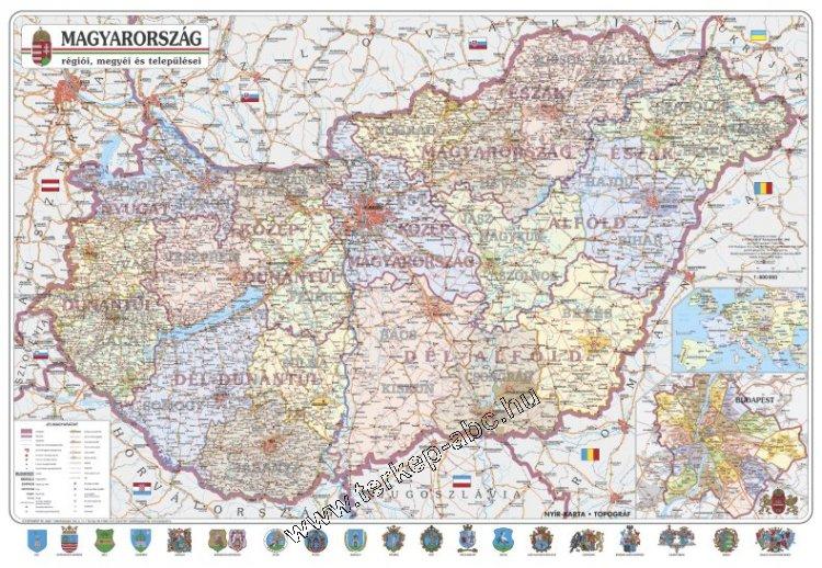 magyarország települései térkép Magyarország régiói, megyéi, kistérségei és települései (1:575 000  magyarország települései térkép